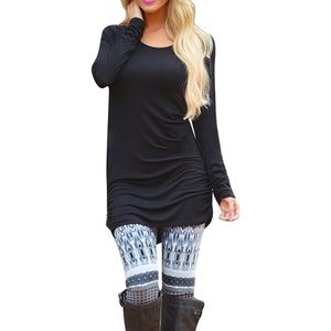 Long Sleeve Scoop Neck Ruched Side Tunic Top Black